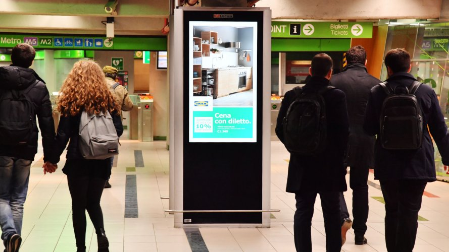 Pubblicità in metropolitana IGPDecaux circuito digital a Milano per Ikea Kichen