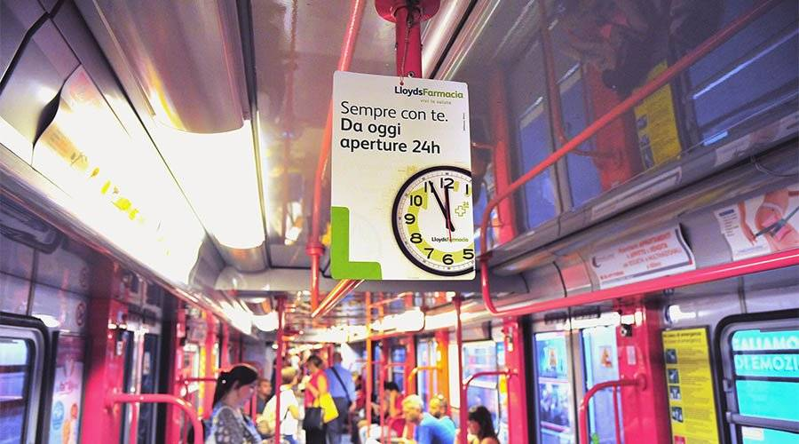Underground advertising IGPDecaux Vehicles' Interior in Milan for Lyods Farmacia