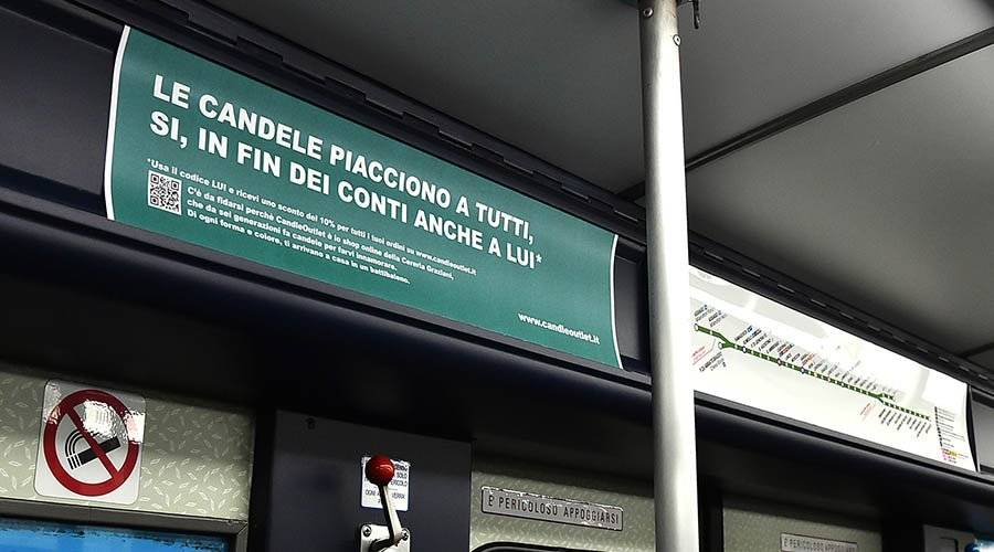 OOH IGPDecaux Underground - Vehicles' Interior in Milan for CandleOutlet