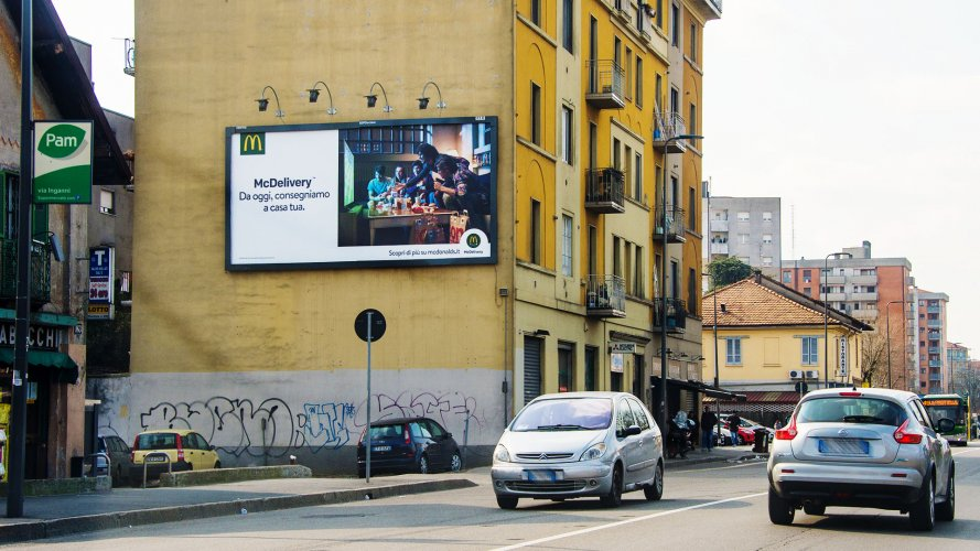 Billboards advertising IGPDecaux Milan spectacular for MC Donalds