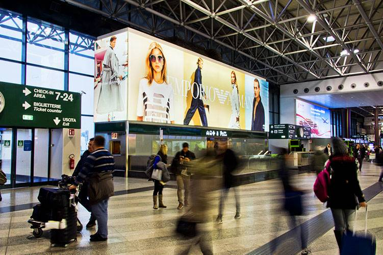 Airport advertising Malpensa IGPDecaux backlight for Emporio Armani