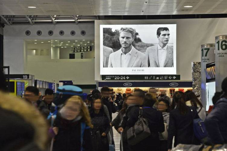 Malpensa Airport advertising backlight IGPDecaux for Pal Zileri