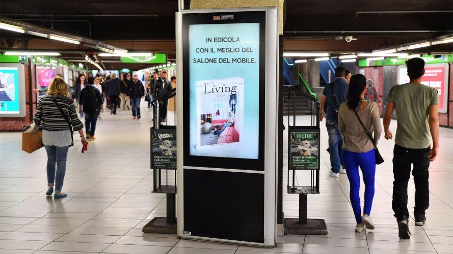 Pubblicità in metropolitana a Milano Network Vision Metropolitana IGPDecaux per RCS Salone del Mobile