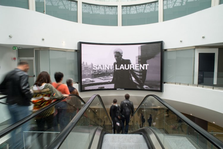 Malpensa airport advertising IGPDecaux videowall for Yves Saint Laurent
