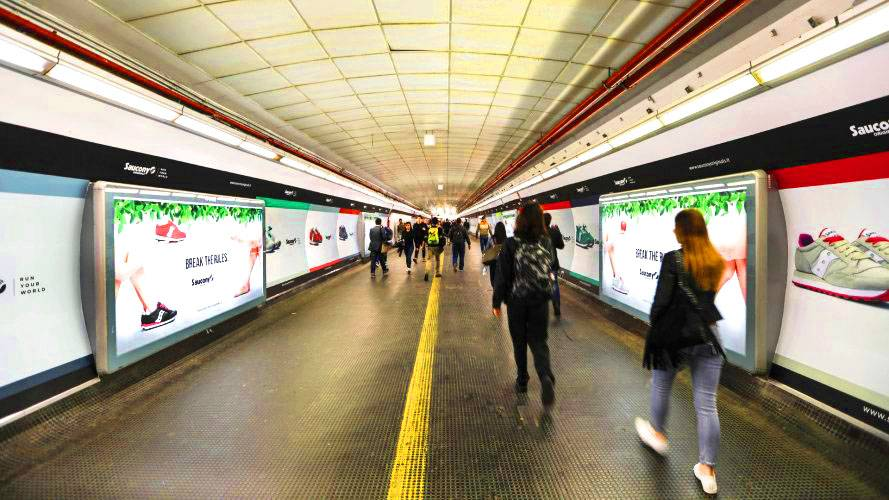Underground advertising Area station domination IGPDecaux in Rome for Saucony