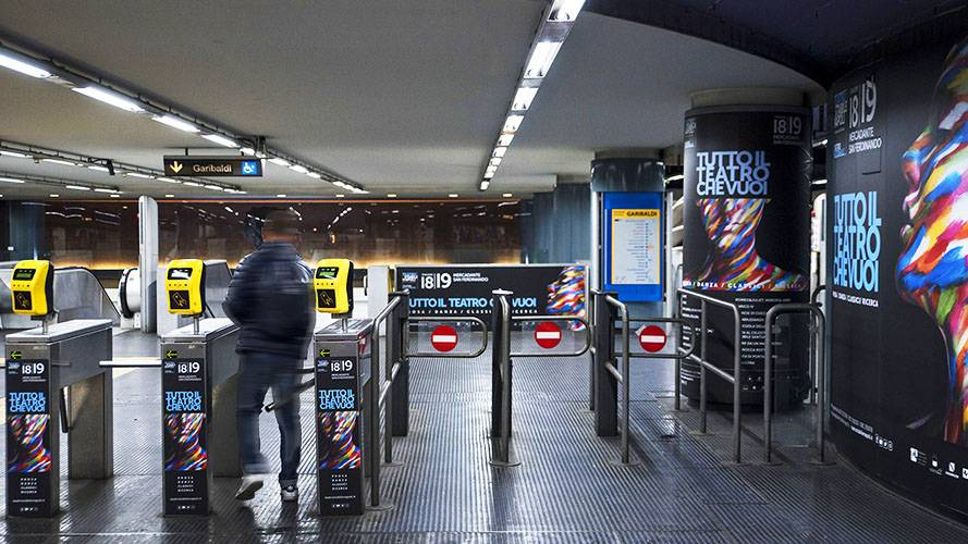 Underground advertising Area station domination IGPDecaux in Naples for Teatro Stabile