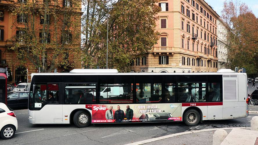 Bus advertising IGPDecaux Landscape Stickers in Rome for Spike TV