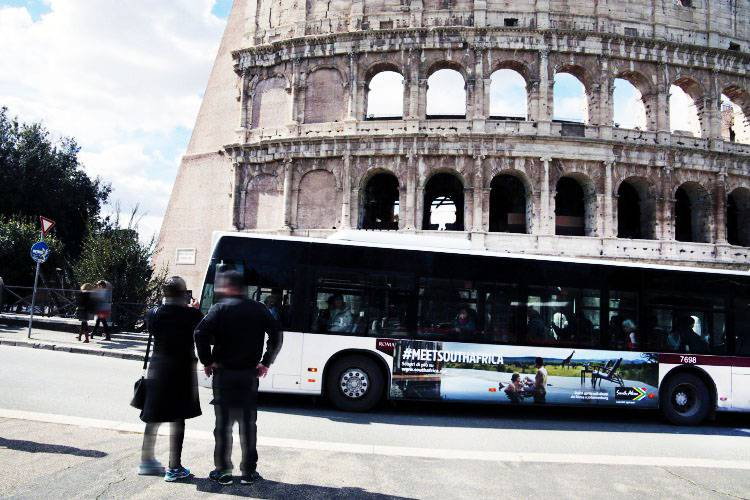 Bus advertising IGPDecaux Landscape Stickers in Rome for Turismo Sudafric