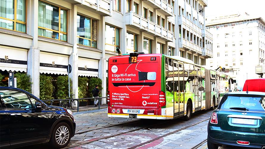 Advertising vehicles IGPDecaux FullBack in Milan forVodafone